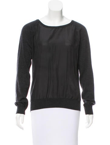 AllSaints Silk-Accented Wool Sweater None