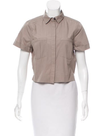 AllSaints Button-Up Crop Top None