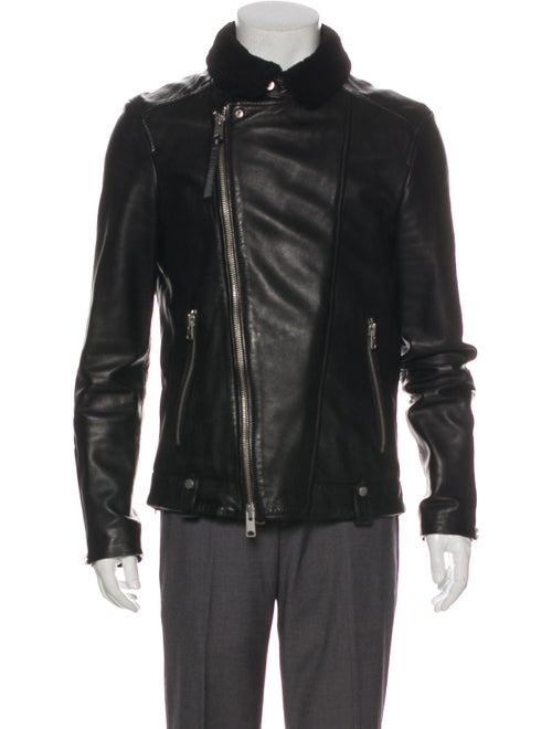 AllSaints Prospect Leather Moto Jacket Black