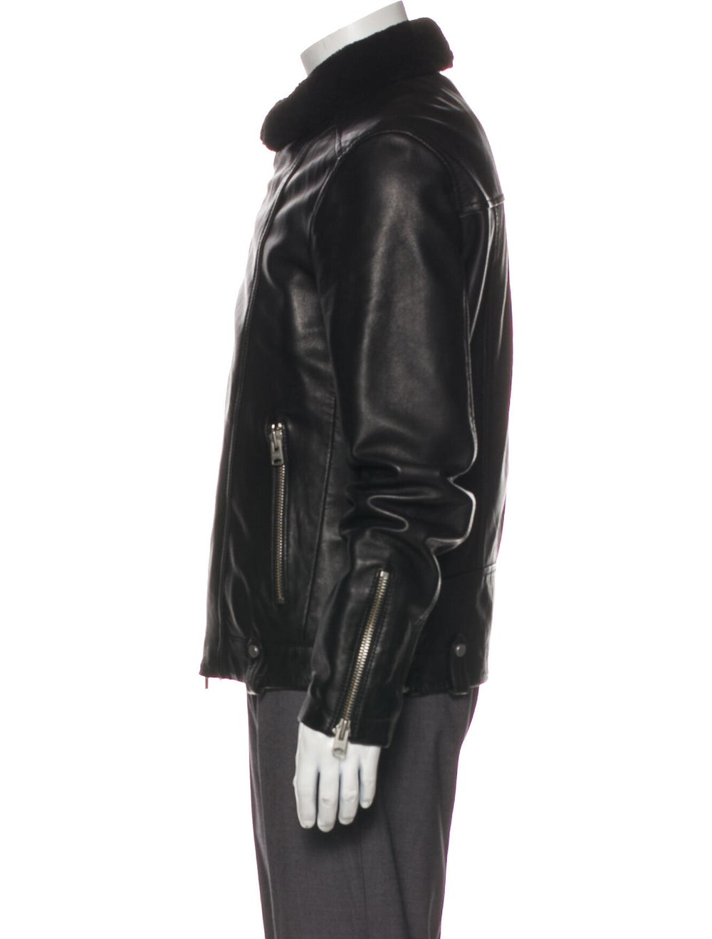 AllSaints Prospect Leather Moto Jacket Black - image 2