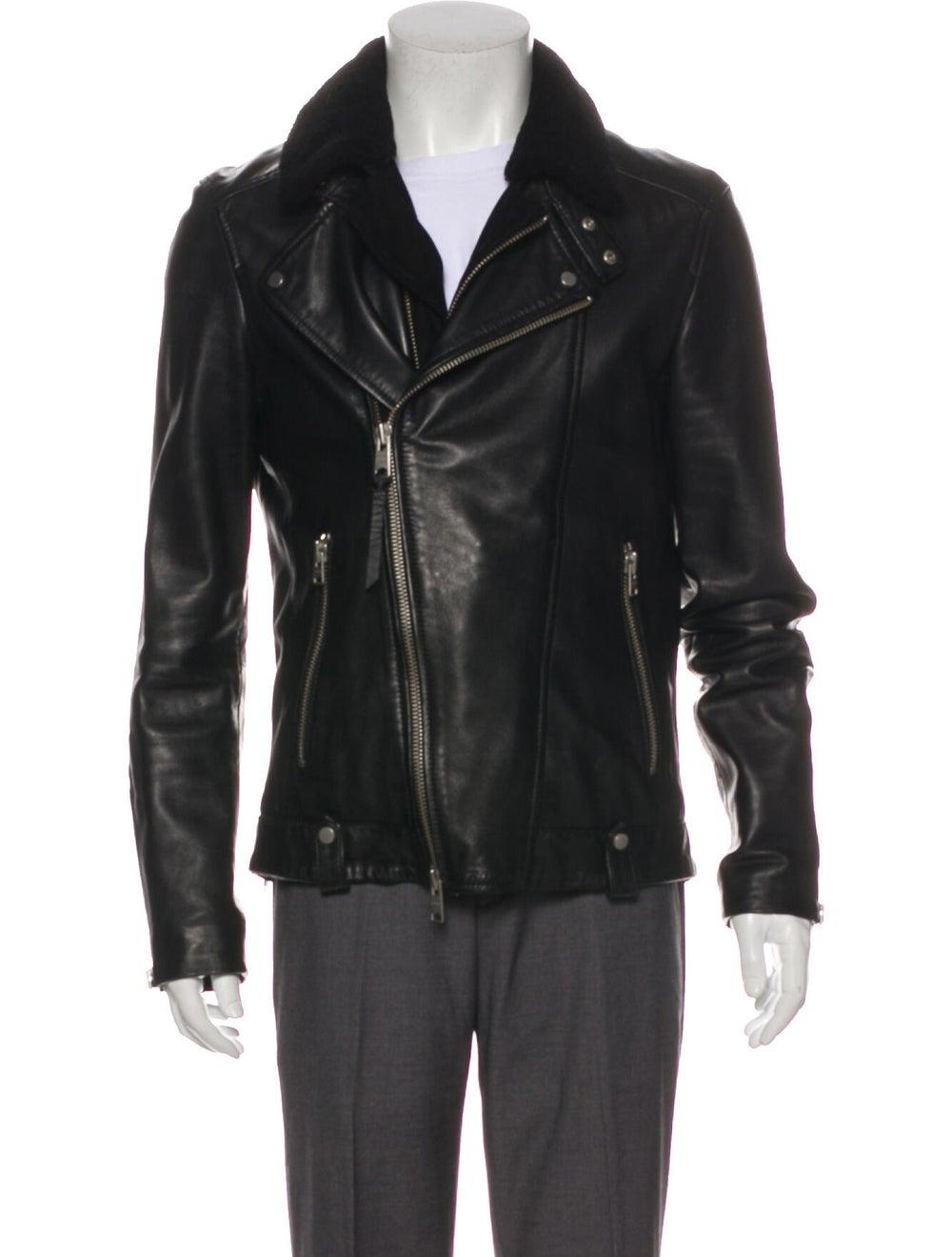 AllSaints Prospect Leather Moto Jacket Black - image 4