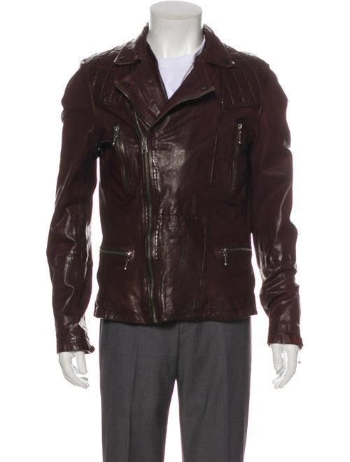 AllSaints Callerton Leather Moto Jacket Brown