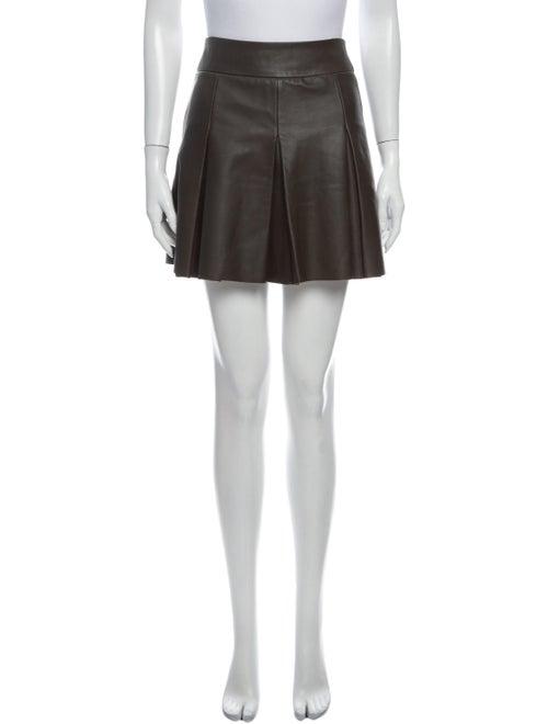 AllSaints Leather Mini Skirt Green
