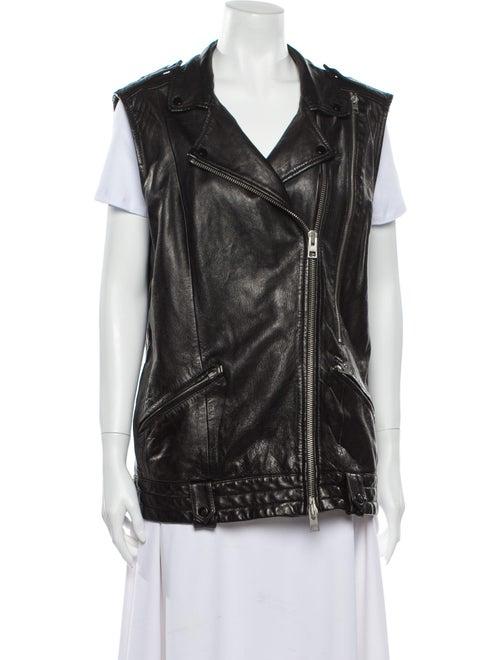 AllSaints Leather Vest Black