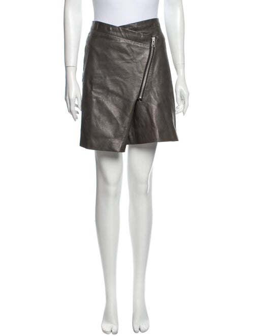 AllSaints Lamb Leather Mini Skirt Green