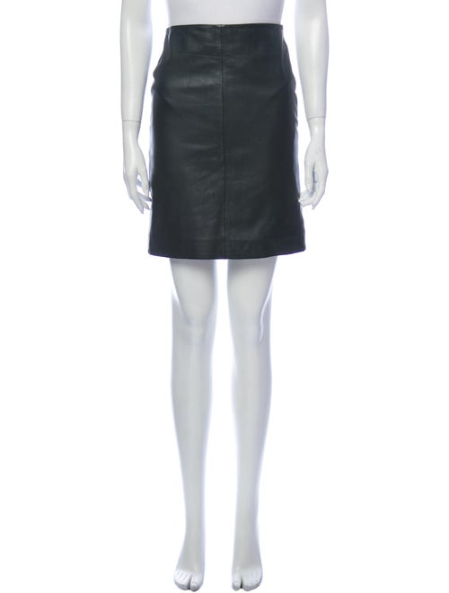 AllSaints Leather Mini Skirt Green