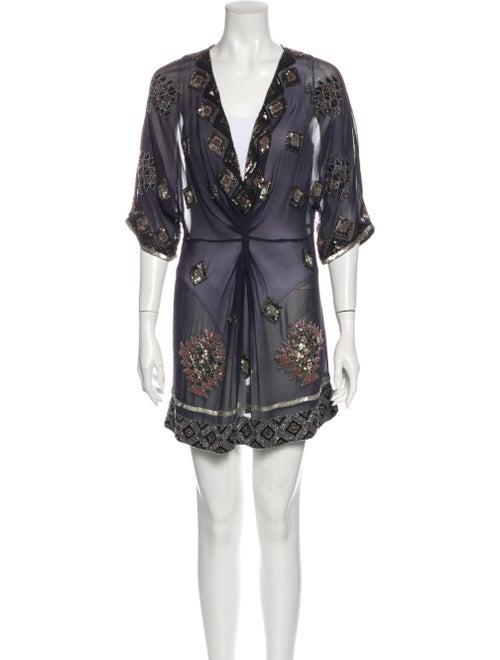 AllSaints Silk Mini Dress Blue - image 1