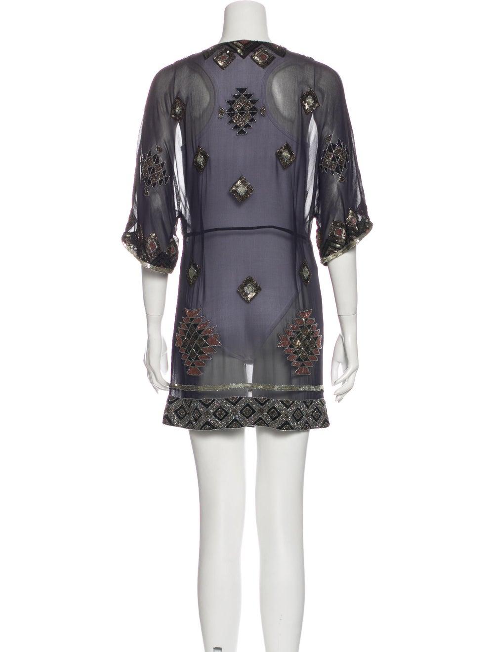 AllSaints Silk Mini Dress Blue - image 3