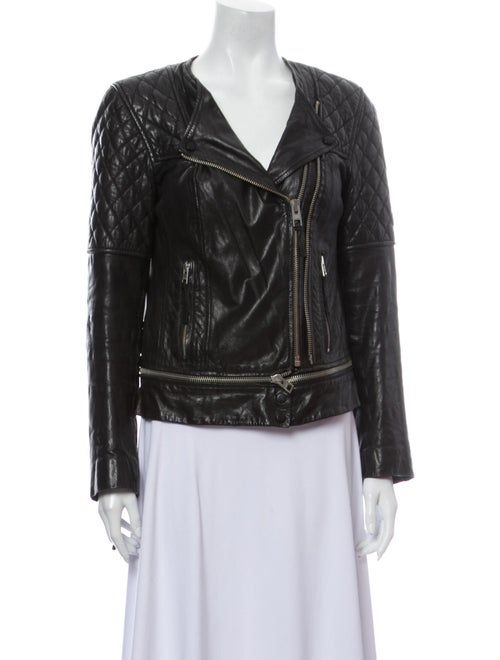 AllSaints Leather Biker Jacket Black