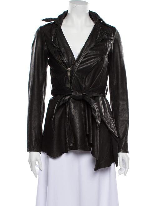 AllSaints Leather Evening Jacket Black