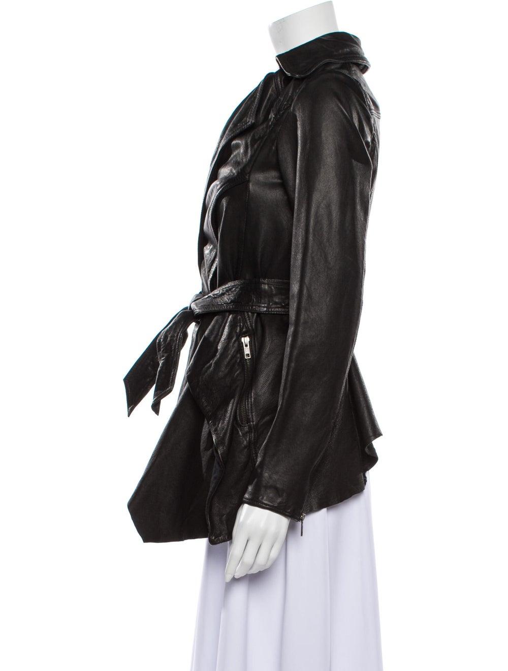 AllSaints Leather Evening Jacket Black - image 2