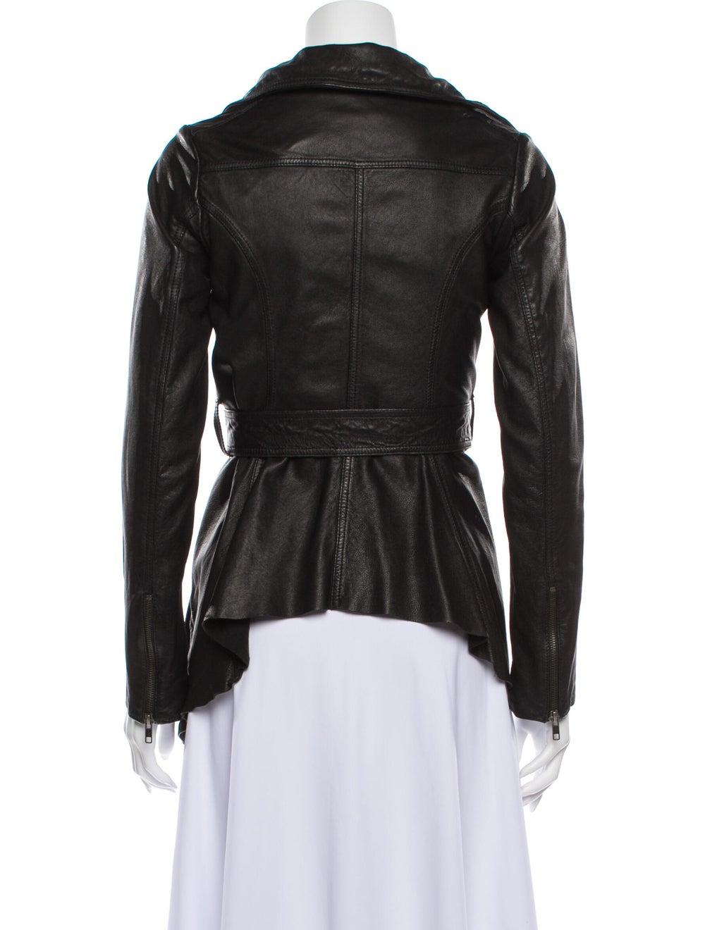 AllSaints Leather Evening Jacket Black - image 3