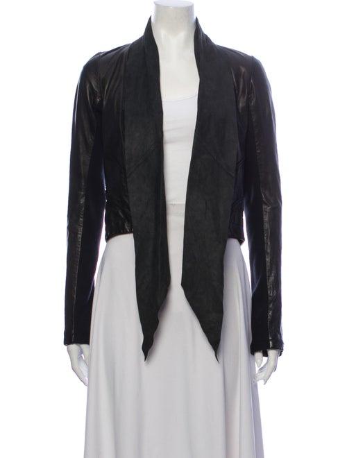 AllSaints Leather Blazer Black
