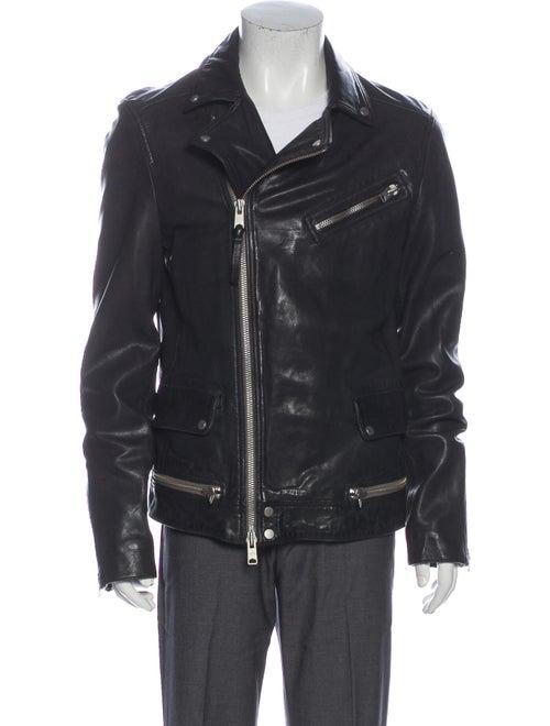 AllSaints Lamb Leather Moto Jacket Black
