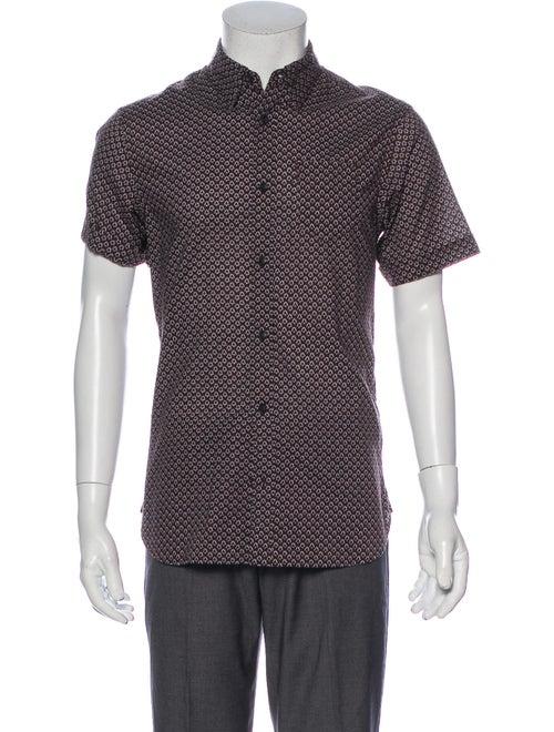 AllSaints Graphic Print Short Sleeve Shirt Brown