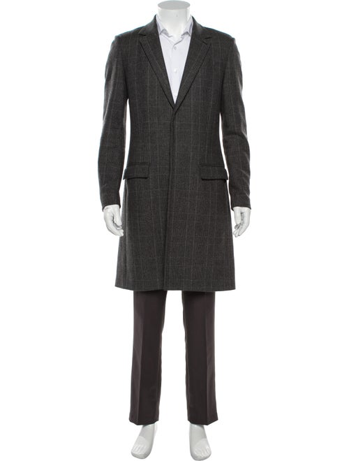 AllSaints Plaid Print Overcoat Grey