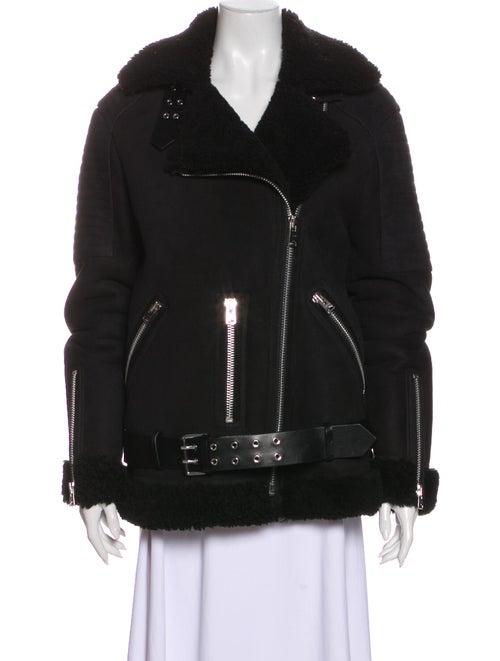 AllSaints Shearling Biker Jacket Black