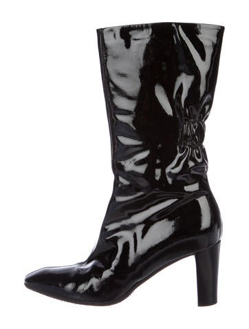 Patent Leather Mid-Calf Boots