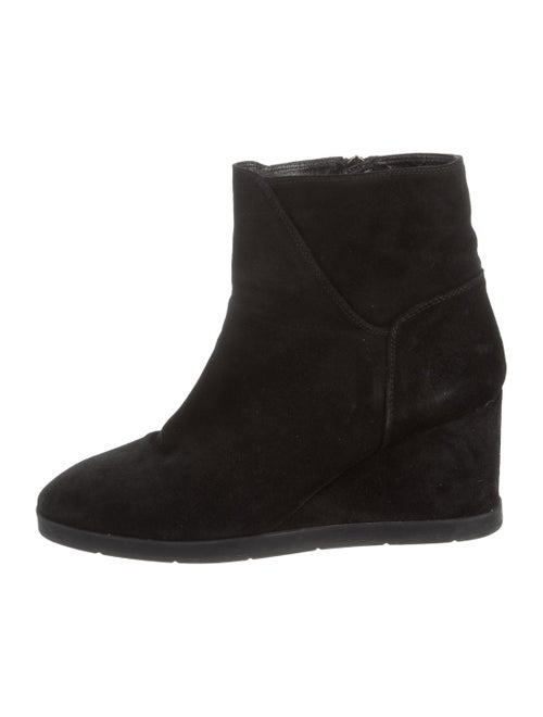 Aquatalia Suede Pointed-Toe Wedge Ankle Boots Blac