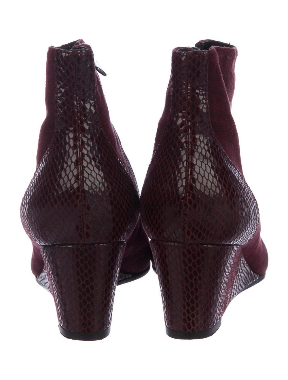 Aquatalia Embossed Suede Boots Red - image 3
