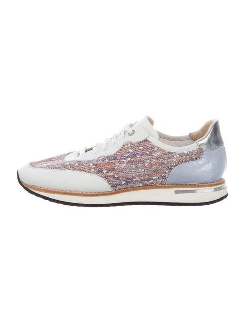 Aquatalia Tweed Pattern Sneakers White