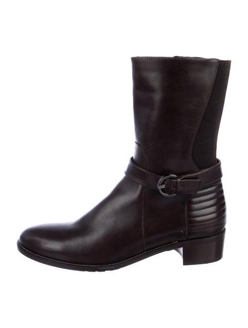 Aquatalia Leather Moto Boots Brown
