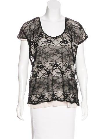 AQUA Lace Short Sleeve Top None