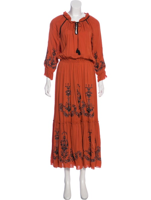 Alice Ritter Silk Long Dress Orange