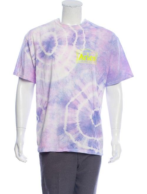 Aries Tie-Dye Crew Neck T-Shirt purple
