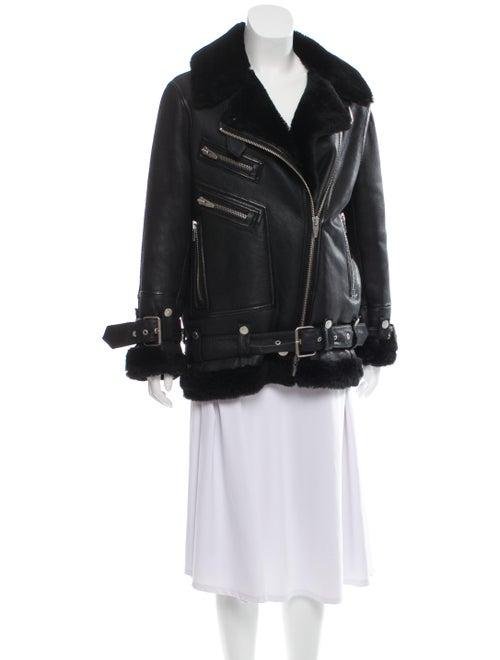 The Arrivals Shearling Biker Jacket Black