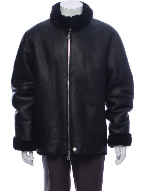 The Arrivals Lamb Leather Puffer Coat Black