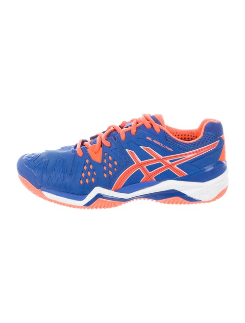 Asics Leather Printed Athletic Sneakers Blue