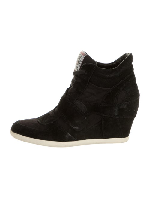 Aska Suede Wedge Sneakers Black