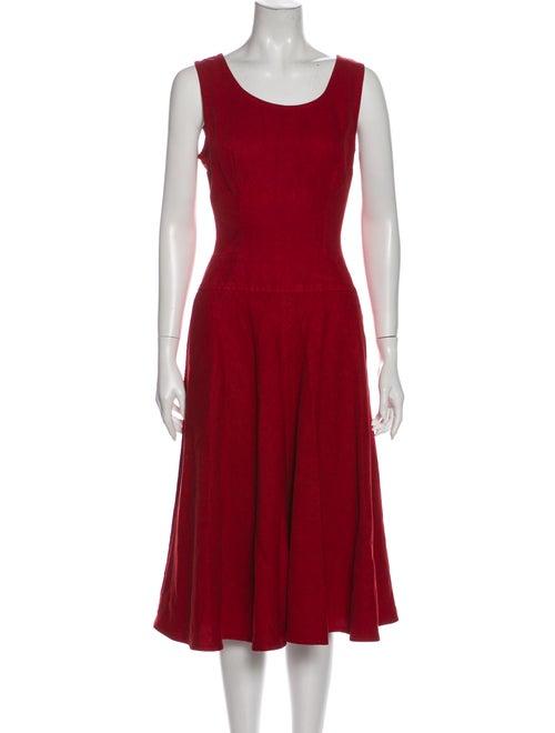 Aspesi Linen Midi Length Dress Red