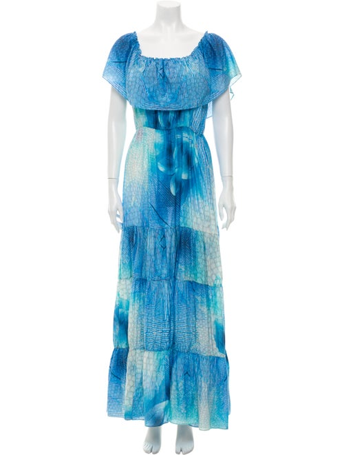 Athena Procopiou Printed Long Dress Blue - image 1