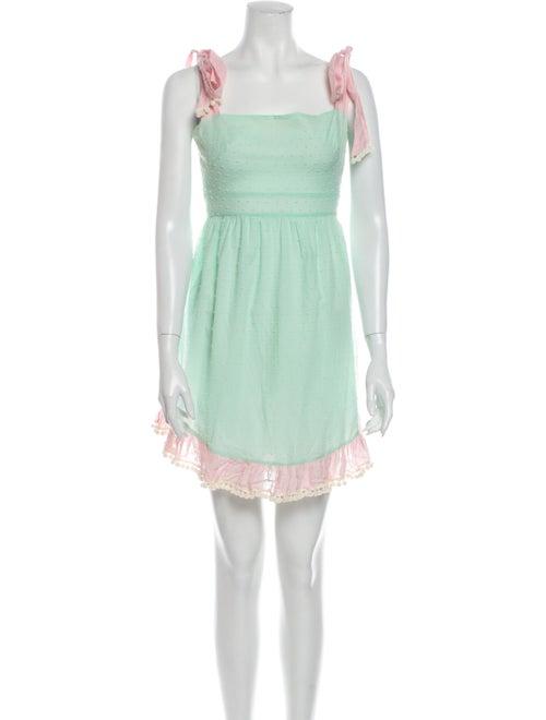 Athena Procopiou Square Neckline Mini Dress Green