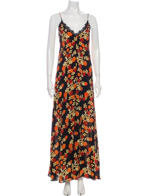 Athena Procopiou Floral Print Long Dress Black