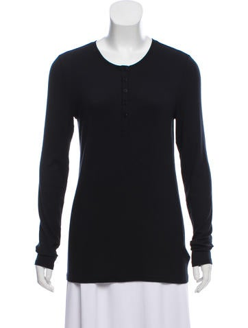 ATM Rib Knit Henley Top w/ Tags None