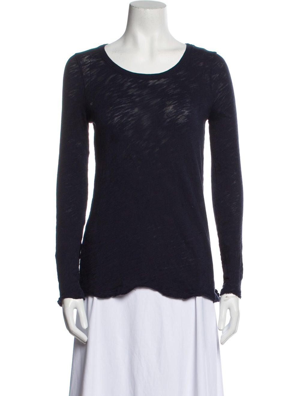 ATM Scoop Neck Long Sleeve T-Shirt Blue - image 1