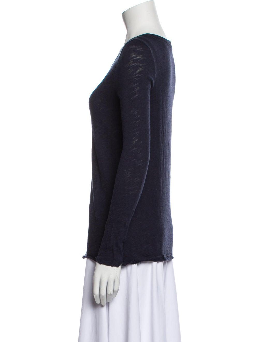 ATM Scoop Neck Long Sleeve T-Shirt Blue - image 2