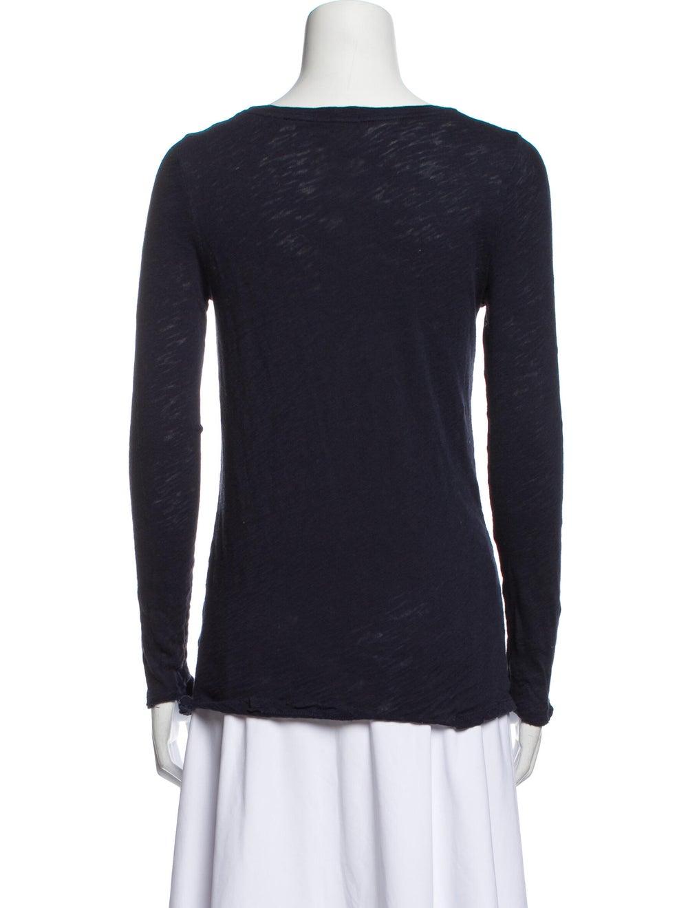 ATM Scoop Neck Long Sleeve T-Shirt Blue - image 3
