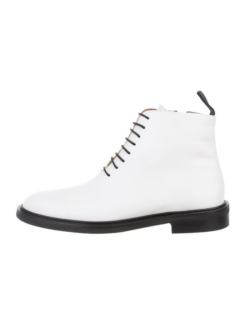 ATP Atelier Leather Round-Toe Ankle Boots White