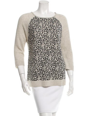 Autumn Cashmere Cashmere Leopard Pattern Sweater None