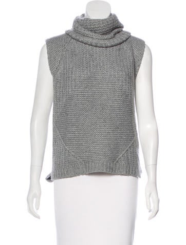 Autumn Cashmere Sleeveless Knit Turtleneck Top None