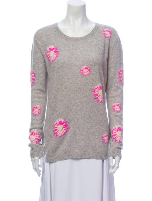 Autumn Cashmere Cashmere Floral Print Sweater Grey