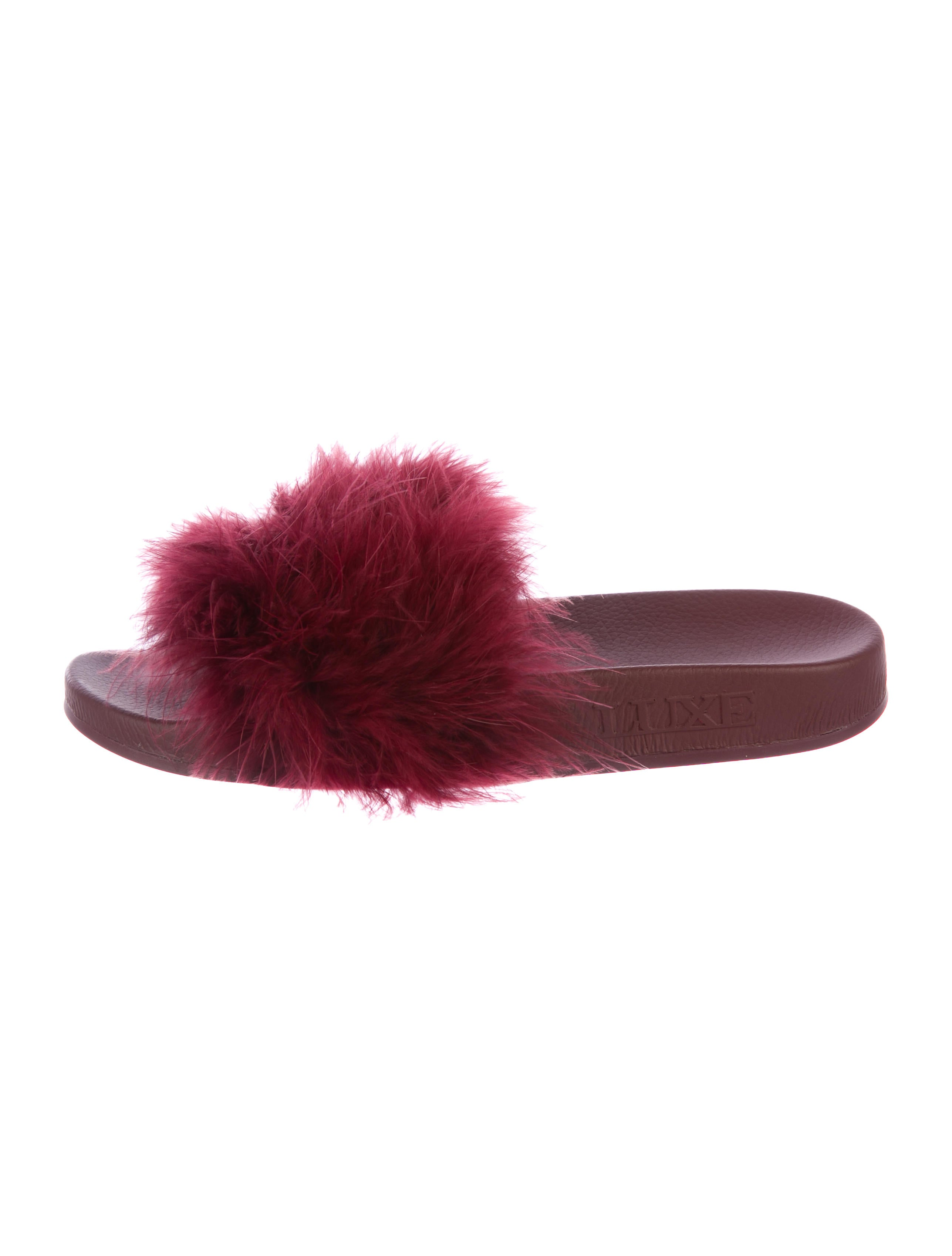 Australia Luxe Collective Feather-Trimmed Slide Sandals discount with credit card outlet brand new unisex buy cheap 2014 new release dates tCBdPOdxCV