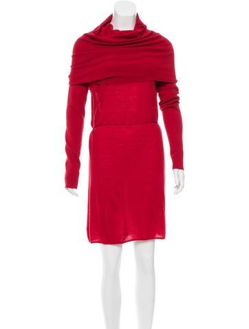 Adam Merino Wool Off-The-Shoulder Dress None