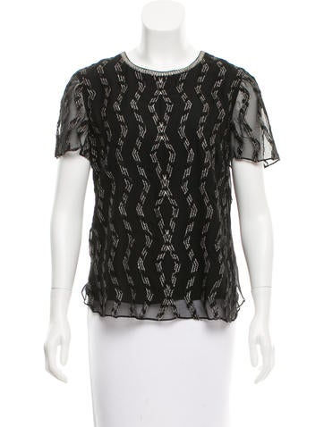 Adam Silk Embroidered Top