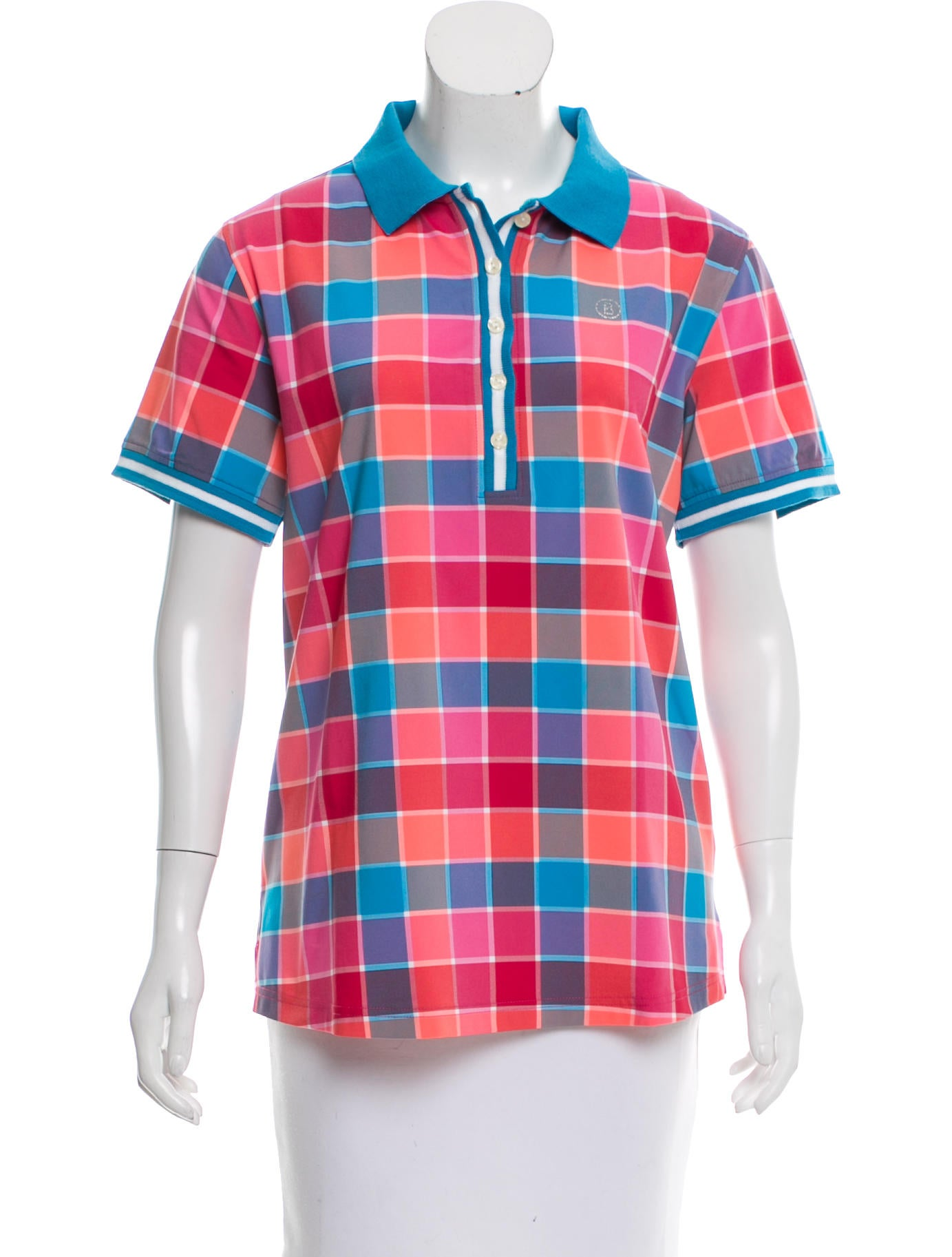 Bogner Plaid Polo Top - Clothing - WB120496 | The RealReal