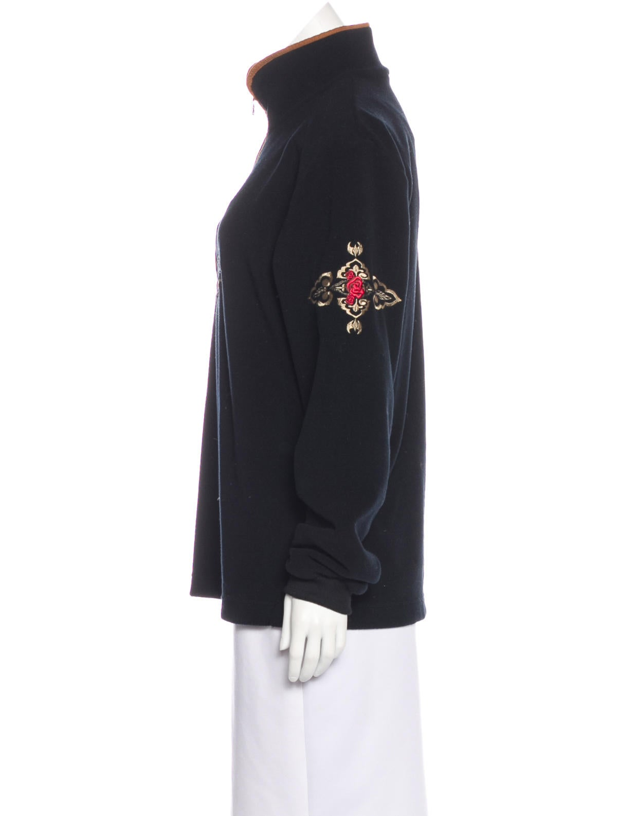 Embroidered Fleece Sweater
